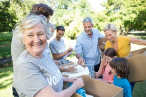 happy people volunteering